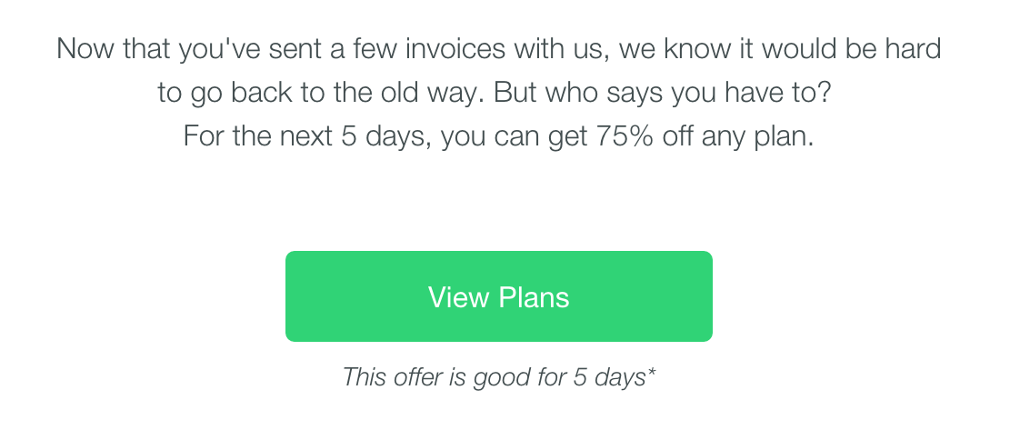 david alia on twitter hi invoice2go ive received your personalized discount of 75 and i appreciate that but no link embedded help