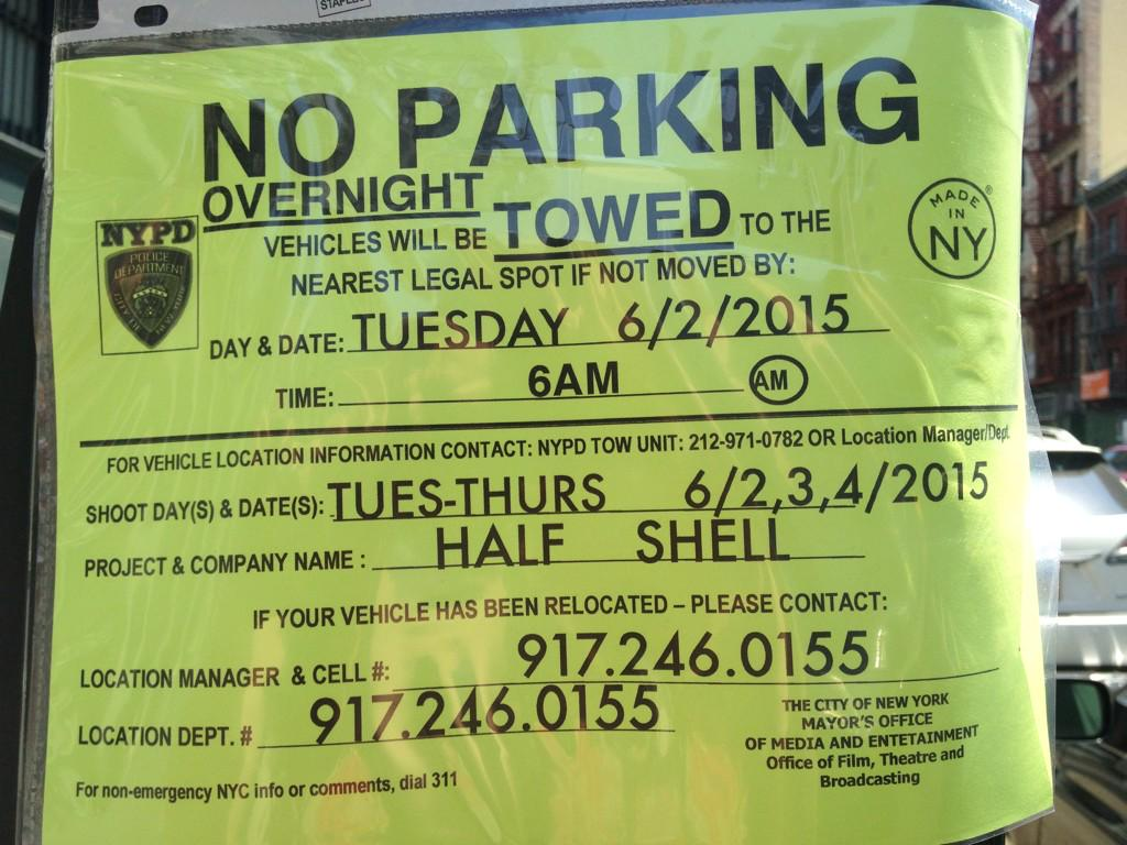 @olv TMNT2 signs on Grand St btw Broadway & Lafayette. Signs also on Crosby & Howard for same dates. http://t.co/kTpiudvRfR