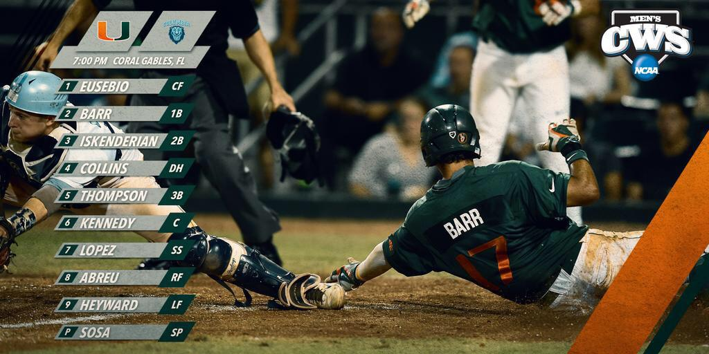 Good luck to @CanesBaseball looking to advance to the Super Regionals tonight at 7 pm #GoCanes http://t.co/QIPK7sRDew