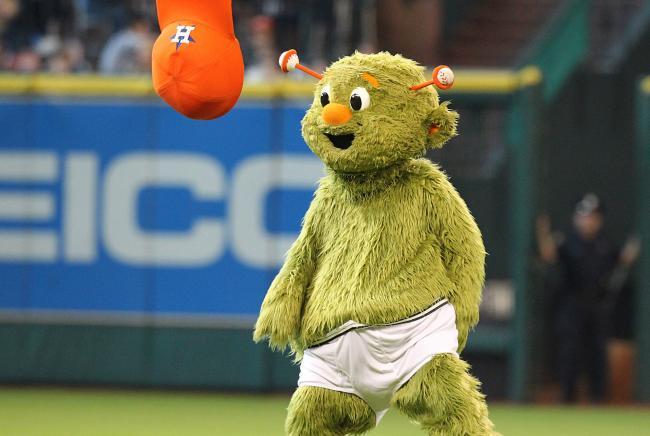 Astros Mascot >> Orbit Astros Mascot Orbit Goes Streaking Across Minute Maid
