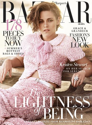 Pinch punch... It's #KristenStewart on a beach in #Chanel couture. The new HBA hits shelves today! http://t.co/59VAUd34tU