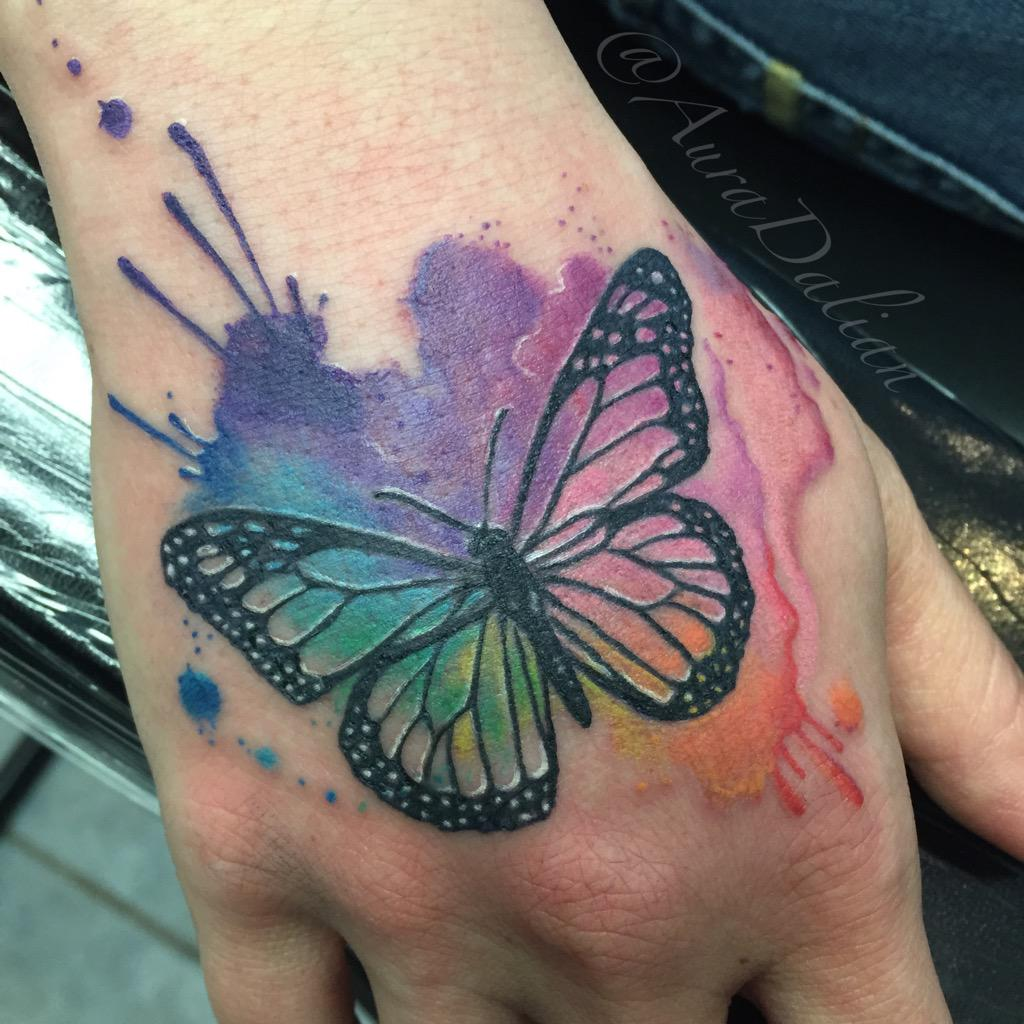"Watercolor Flower Moth Tattoo My Precious Ink: Aura Dalian On Twitter: ""#watercolor #Butterfly #tattoo"