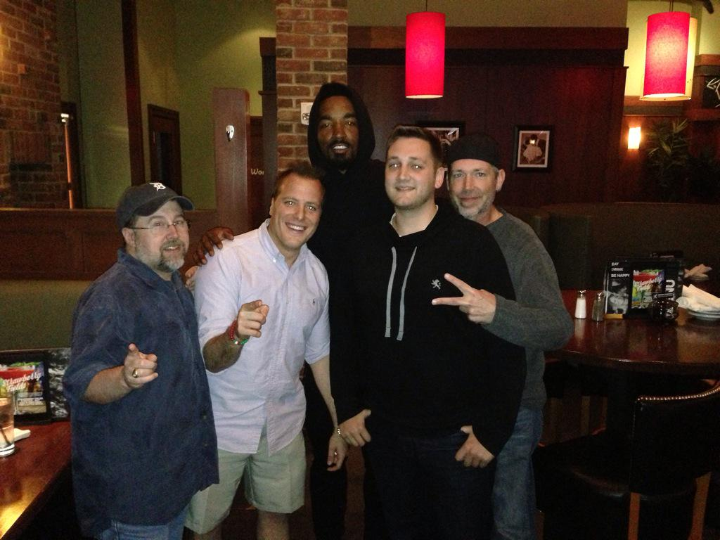 The boys with J.R. Smith at Louie. Says the title drought is about to be over. @joereedy @NickCaminoWTAM @ZackMeisel http://t.co/ce7RuS2ANr