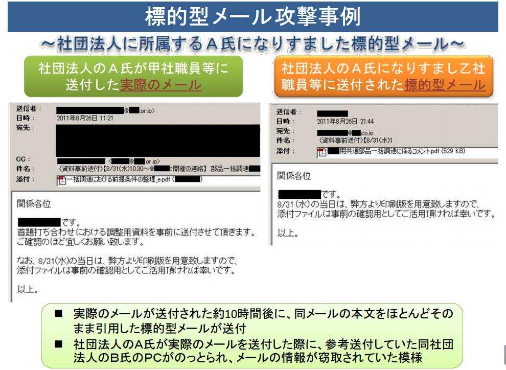 標的型攻撃ってこのくらい巧妙なので、たぶん騙されない人はいないです :標的型メール攻撃事例(警視庁、PDF) http://t.co/0tnLQk11X4 http://t.co/27S9N3e3Nd