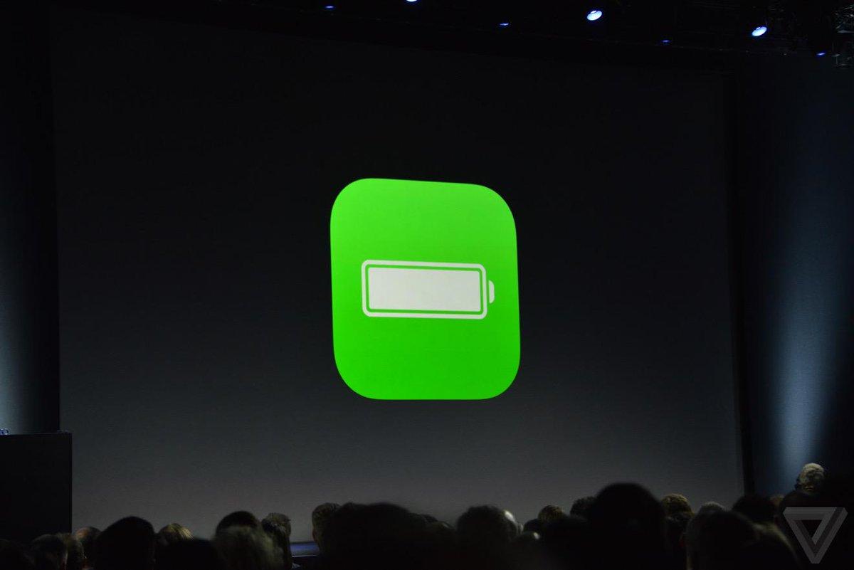 iOS 9 มาพร้อมกับโหมดประหยัดแบตที่จะทำงานอัตโนมัติ ยืดการใช้งานเวลาแบตใกล้หมดไปได้อีกถึง 3 ชั่วโมง #WWDCTH http://t.co/e3VyhLprO3