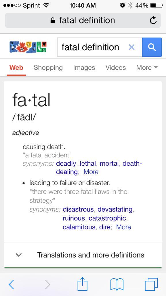fatal flaw synonyms