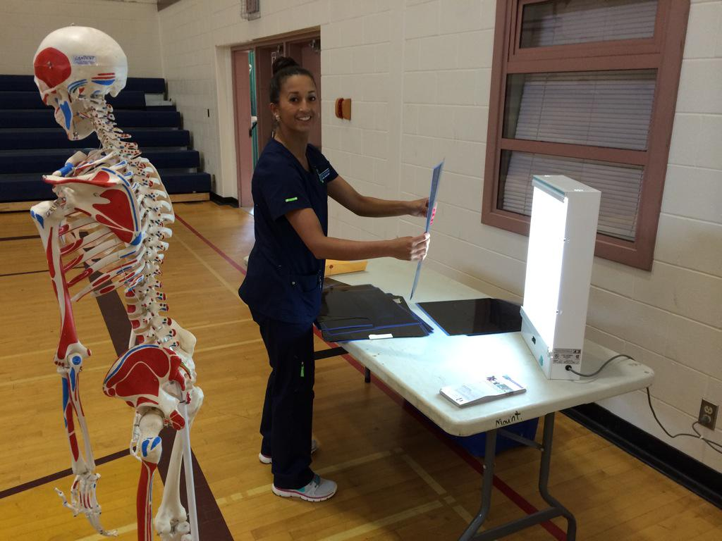 Cherie from @bcit setting up the #BCHCRS15 X-ray station for North Peace Secondary students @sd60npss  @sd60 http://t.co/GAQGM691qT