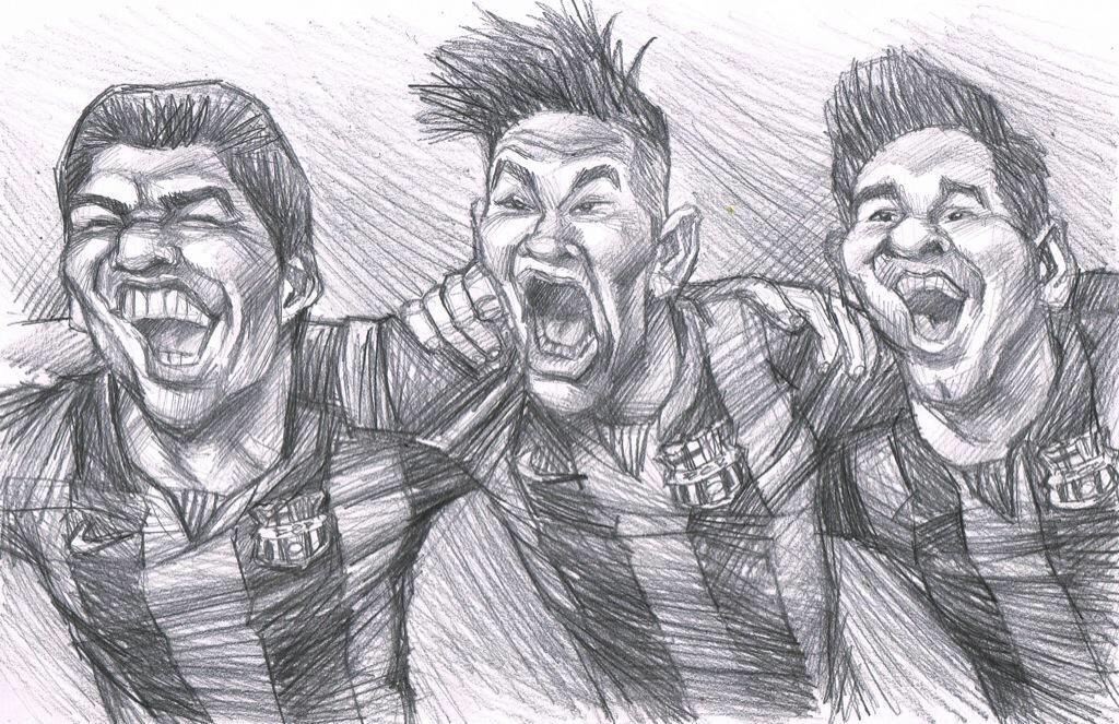 mesqueunclub.gr: Drawing: Suarez, Neymar and Messi