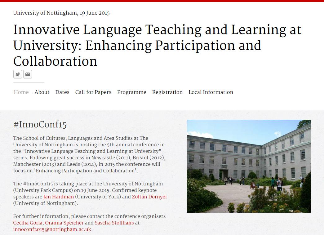 Last chance to register for #InnoConf15 @CLASUoN @UniofNottingham http://t.co/70vxv0Xyo1  #languages #teaching http://t.co/TzYXvT9GJm