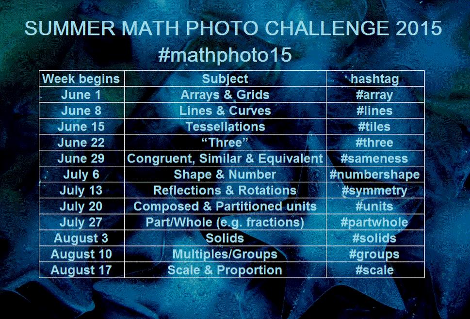 SUMMER MATH PHOTO CHALLENGE now on: Arrays! 2015http://summermathphotochallenge.weebly.com/ #mathphoto15 @teachmaths http://t.co/2ZVQkkIgFu