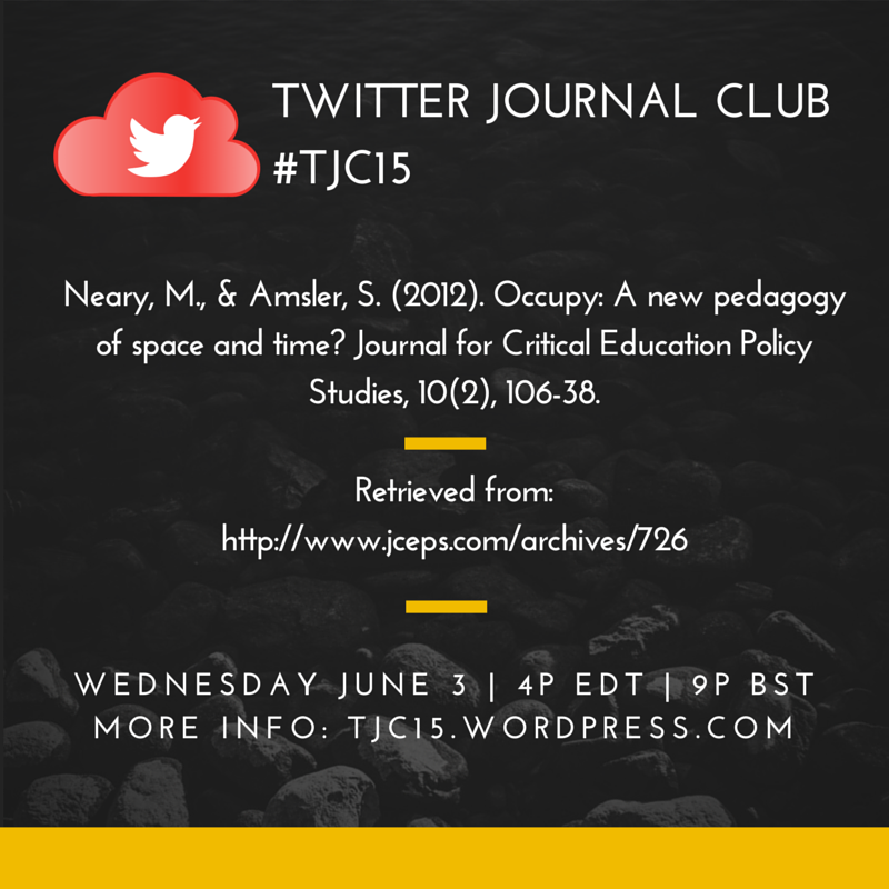 Don't forget #TJC15 is Wed, 3 June at 4 EDT/9 BST. Article link:https://t.co/6NydeuqMuo #rhizo15 #connectedlearning http://t.co/kO5xR9EMDu