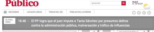 El titular de Publico sobre lo de Tania Sanchez es lamentable... Periodismo de alto nivel... http://t.co/UzLBXovyA6