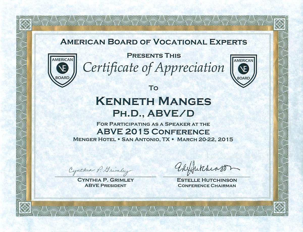Dr kenneth manges on twitter certificate of appreciation as dr kenneth manges on twitter certificate of appreciation as speaker at the abve 2015 conference by the american board of vocational experts yelopaper Image collections