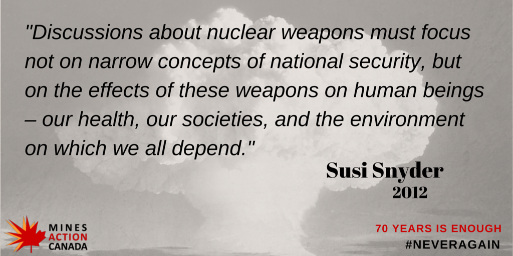 52 days to 70th anniversary of #Hiroshima & #Nagasaki. Wise words about nukes from @susisnyder of @NoNukesCampaign http://t.co/qh68dVWR65