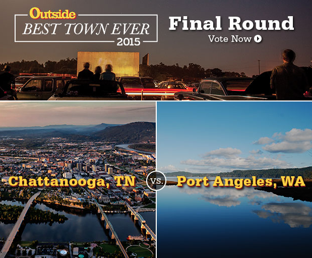 @outsidemagazine's BEST TOWN EVER final round: #Chattanooga or #PortAngeles? VOTE NOW @ http://t.co/bPFIYOBB6m http://t.co/4hVn6d0ZKr