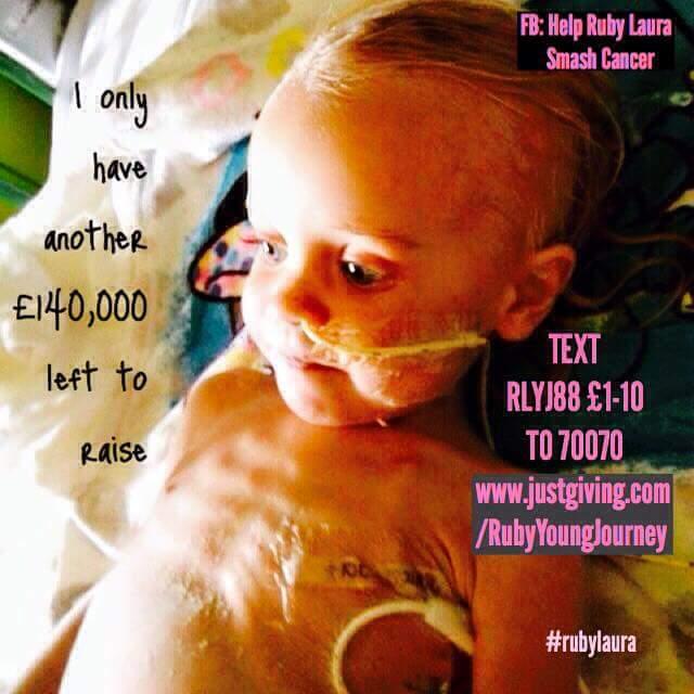 RT @FollowUrHeart_X: @lemontwittor  PLEASE spare £1 to help #rubylaura smash rare cancer https://t.co/vITQro16nl  TX RLYJ88 £1 to 70070 htt…