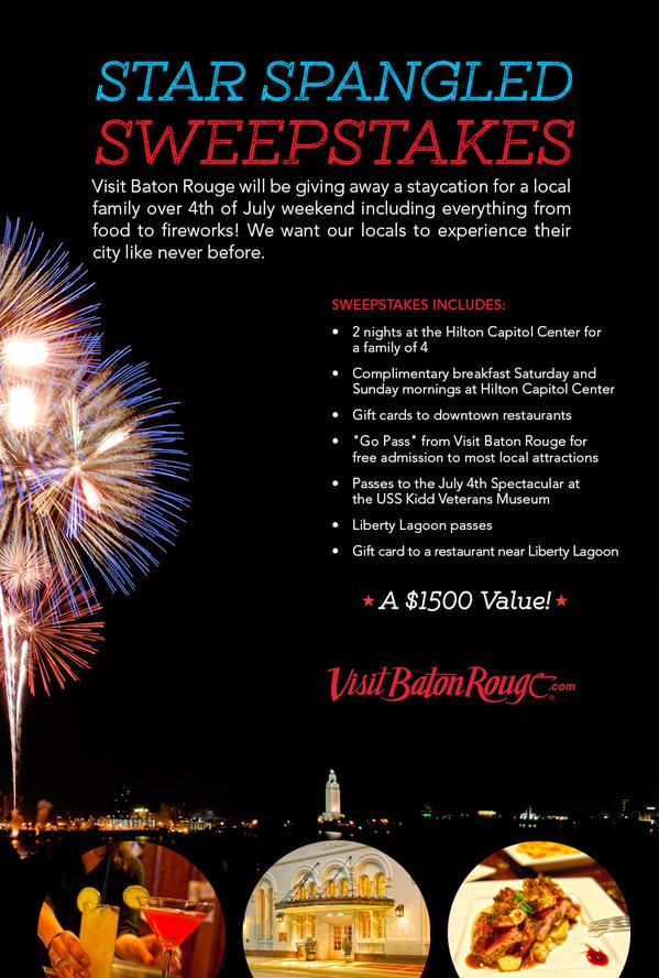 Win a Baton Rouge Staycation by entering our Star Spangled Sweepstakes! ENTER NOW>>https://t.co/qrjwtJgYkj  #GoBR http://t.co/ZpFSkKtHXh