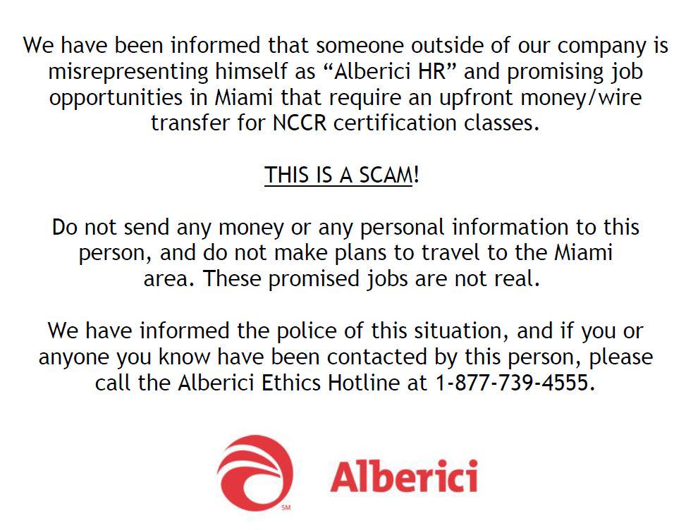 Alberici On Twitter Scam Alert Dont Send Moneypersonal Info To