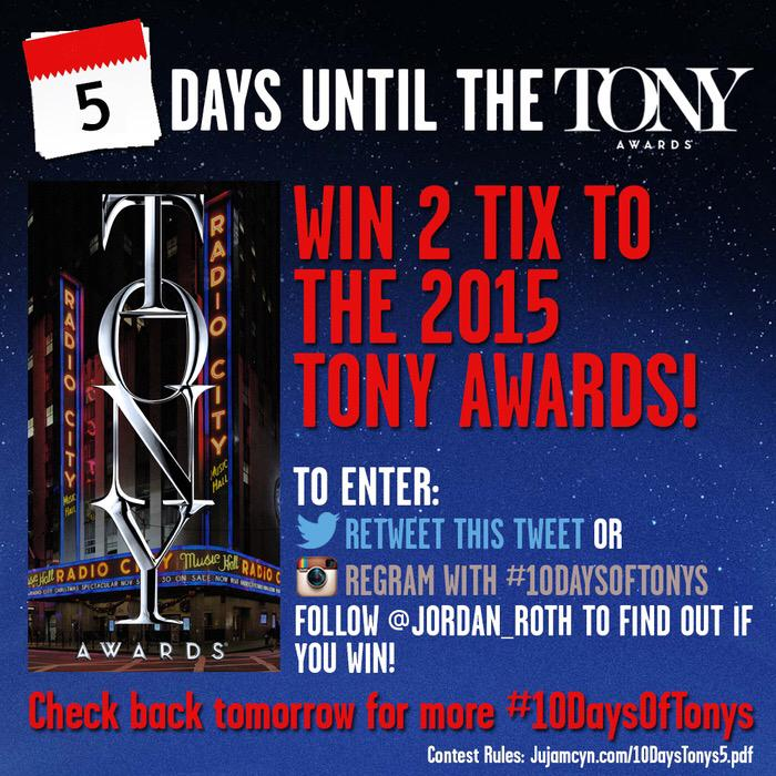 MORE TONYS TICKETS! Retweet to enter to win 2 tix to the Tony Awards on Sunday! #10DaysOfTonys http://t.co/TCJrlNBzM3