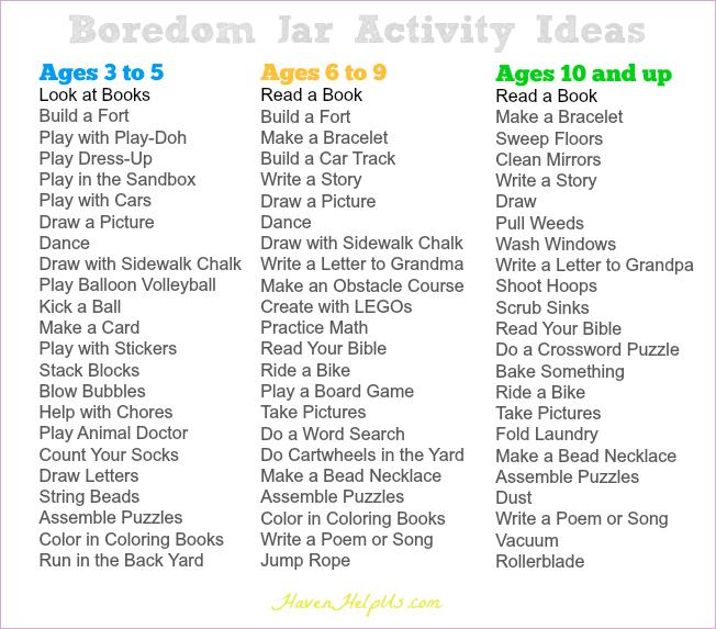 Ontspecialneeds On Twitter This List Must Be Retweeted The Boredom Jar Activity Ideas By Age Group Https T Co Igyrzzo88a