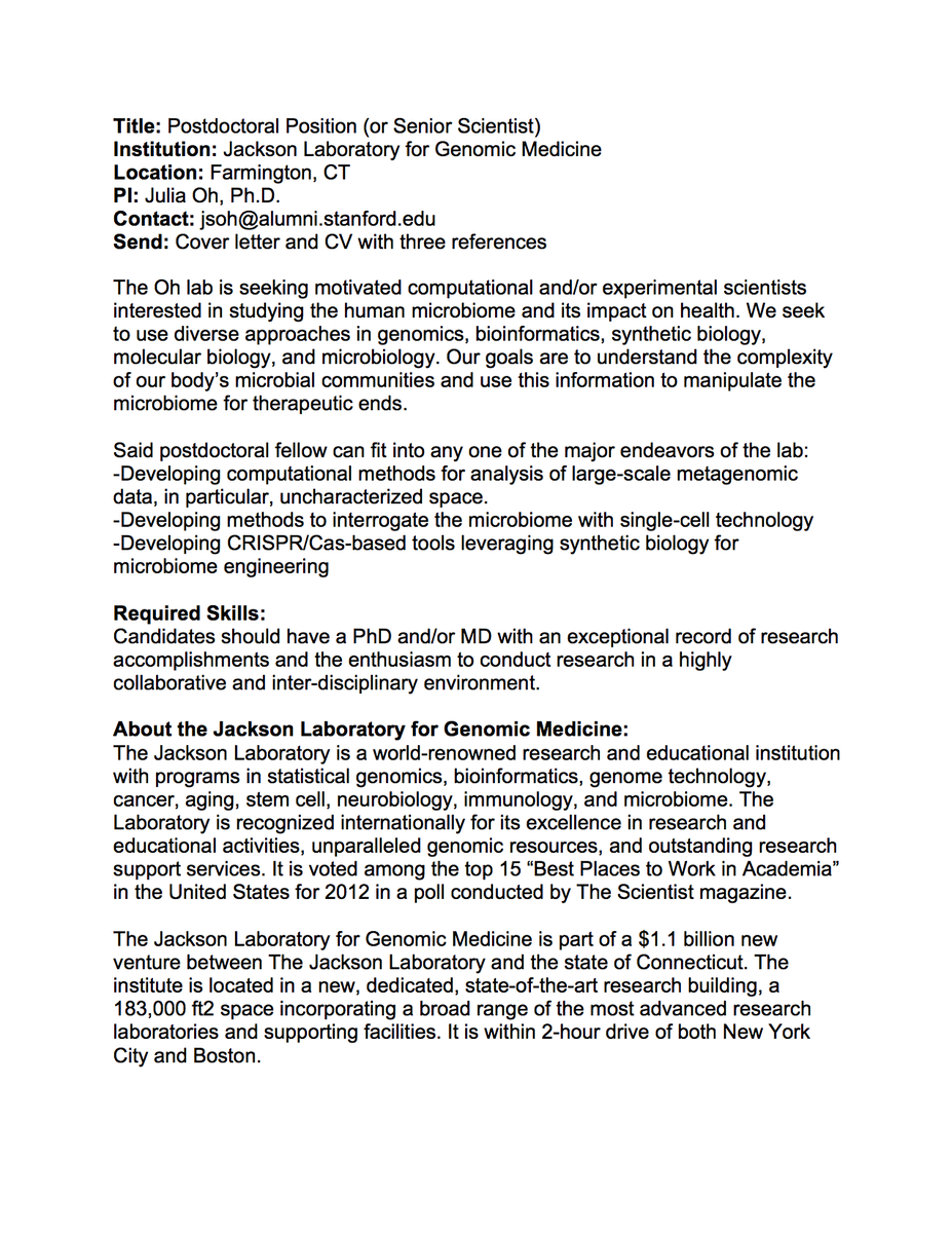 postdoc cover letter biology A foot in the door and cover letter toby franks knew he wanted to switch from the rna-processing field to a cell-biology topic for his postdoc.