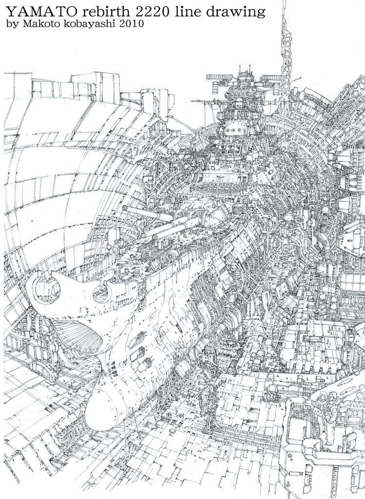 描かない人には関係ないかもだが、ヤマト復活篇のパッケージ絵の線画。シャーペンで1週間の作業。2010…