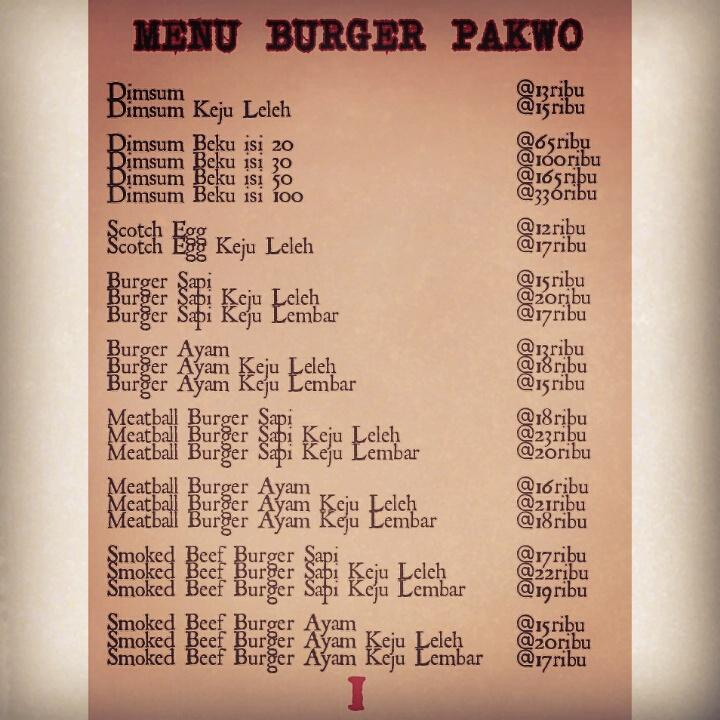 menu burger pakwo