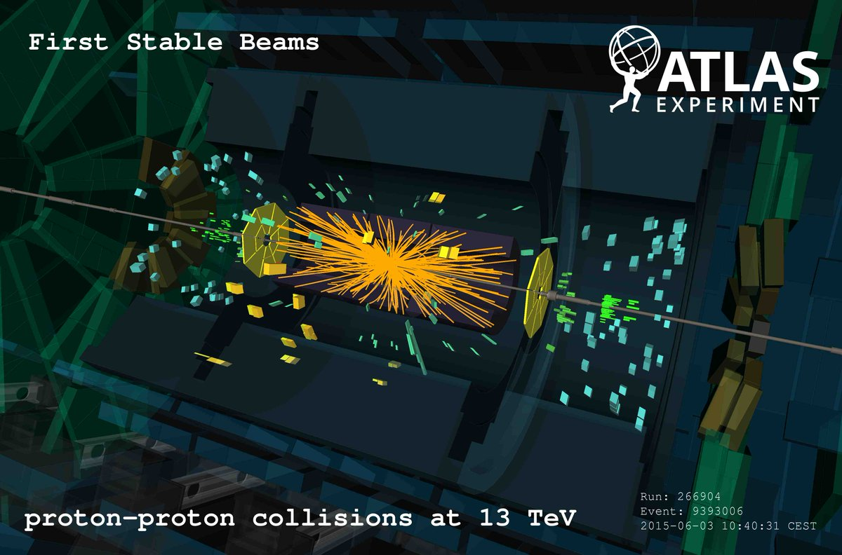 The first #ATLAS event display with #13TeV stable beams! http://t.co/ls8PfOxCBL