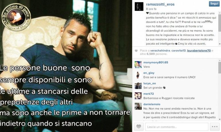 Partita del Cuore (FOTO VIDEO): Eros Ramazzotti shock su Instagram, le minacce di Luca Barbarossa dopo il fallo di Pavel Nedved su Moreno