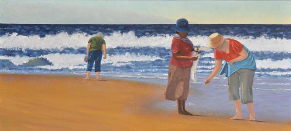 """Picking Up Shells"" 40x90x4cm Oil on Gallery wrapped canvas, will be available at ""I AM"" Exhibition in #FranscHHoek http://t.co/3d1IExl4qK"