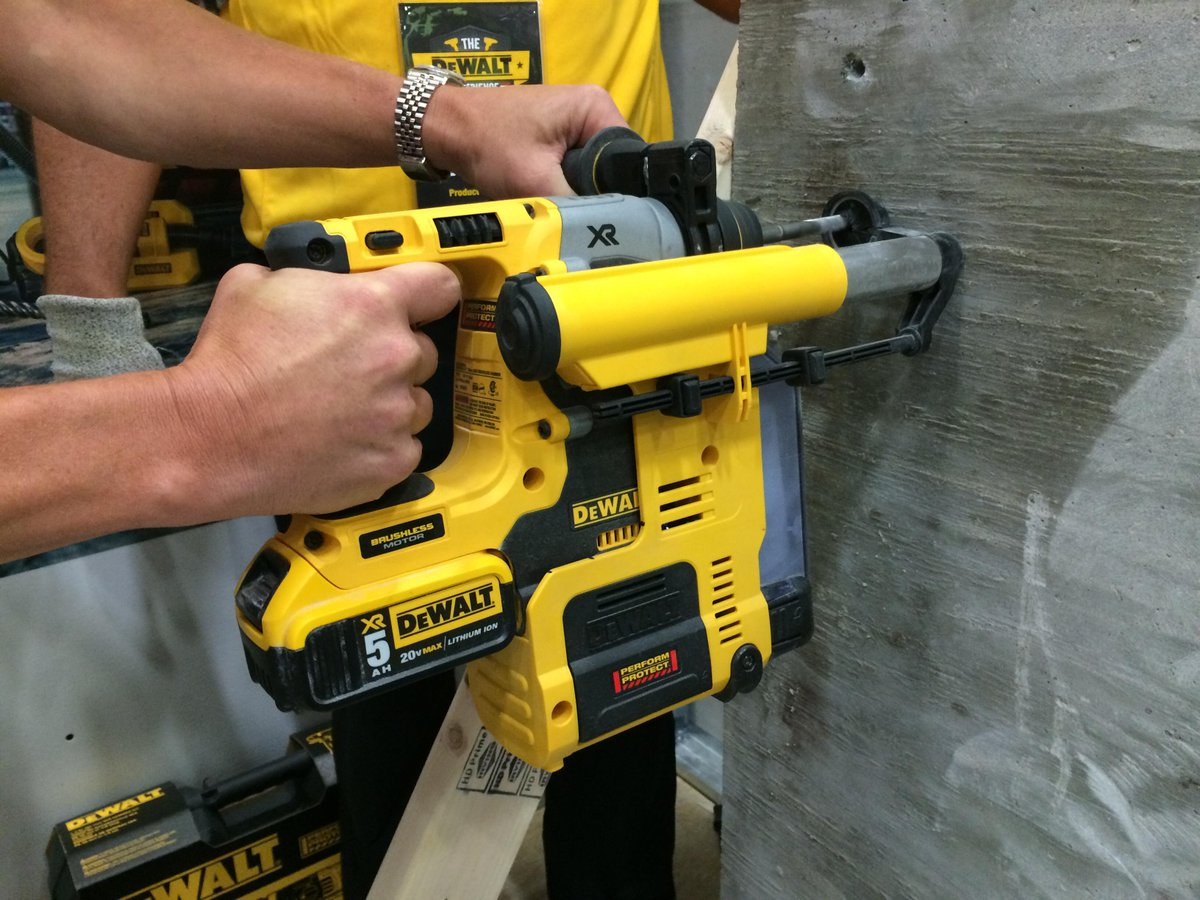 Launching in August, new D25303DH cordless SDS-Plus dust collector pairs with their new rotary hammer. #dewaltxp http://t.co/VKJWULEEVW