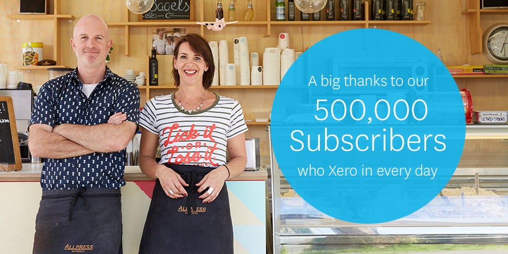 Thrilled to share we just hit 500,000 subscribers! Thanks to everyone supporting us along the way. #xero500k http://t.co/rbxg4fxQPo