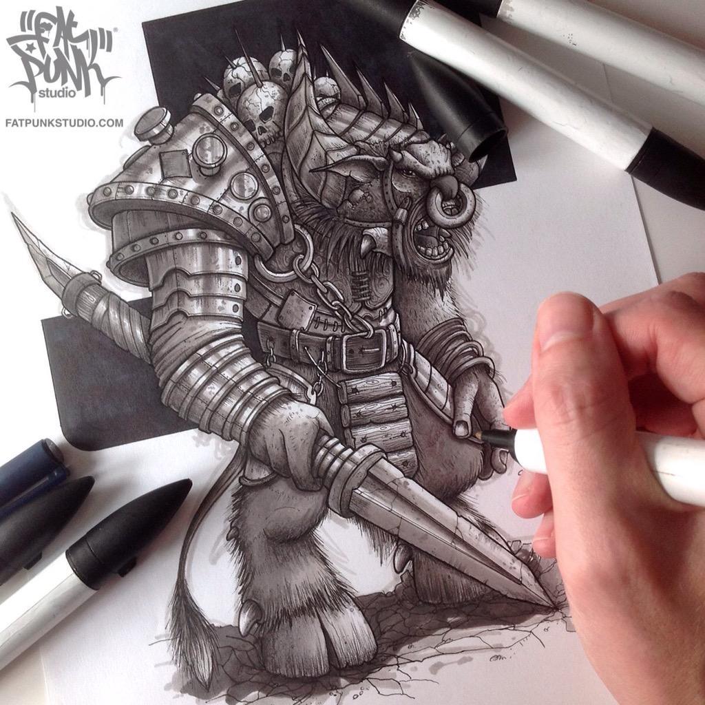 Minotaur rough marker #sketch. RT if u dig the horny beast #art? http://t.co/z1fsaL1a5Y http://t.co/jQkG53W1us