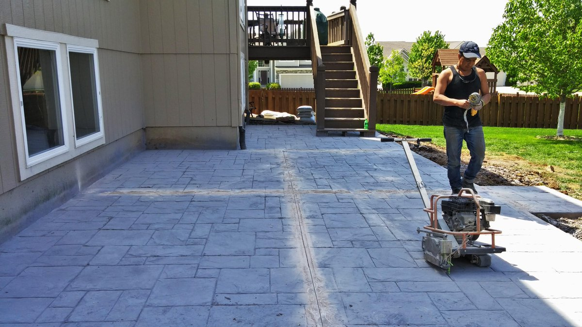 Maya Stone Concrete On Twitter Decorative Stamped Patio. Cutting ...