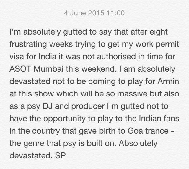 Statement regarding @asot this weekend http://t.co/kj0vhqFXBn