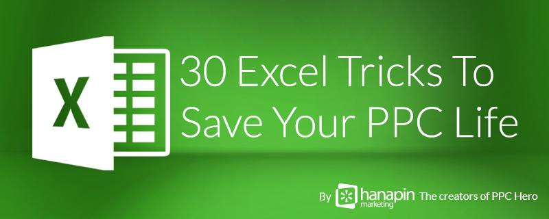 Get 30 Excel Tricks for #PPC by @Hanapin's Account Analyst @Law_Rachael! http://t.co/Oe1hOxrVll #SEM #Marketing http://t.co/Zhaq0aLlsj