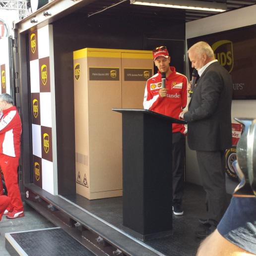 Here he is! #Seb5 at our UPS Access Point location in Crescent St. for an important collection #ForzaUPSCan http://t.co/sdYlt8x2Vs