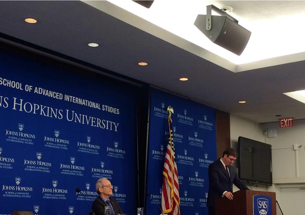 Now at SAIS: #Serbia PM Aleksandar Vucic speaking now on Serbia's strategic policies. http://t.co/xMrJG6RV0H