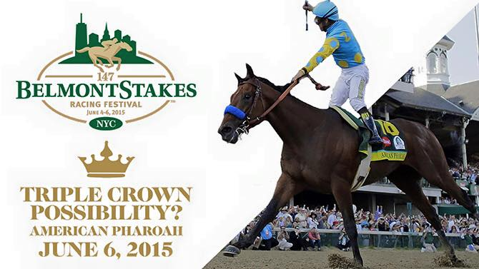 Join us for the 147th running of the Belmont Stakes w Triple Crown hopeful, American Pharoah ! Party starts 2:30pm. http://t.co/KoOR9wz3yz
