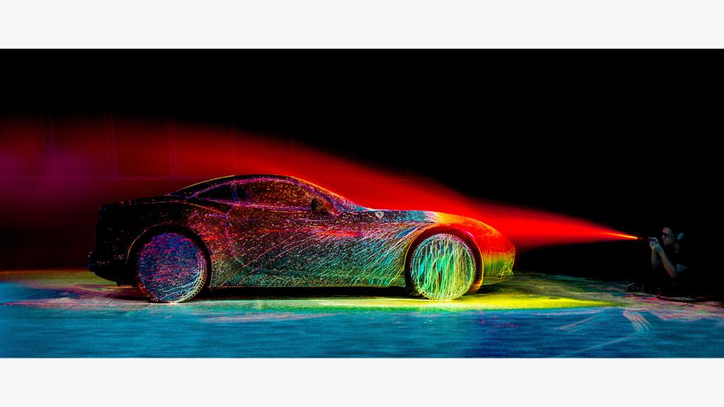 Watch a Ferrari get blasted with UV paint in 100-mph winds. Seriously, just watch: http://t.co/W6ohD2oZ7V http://t.co/Ejg3Xs8Mcd