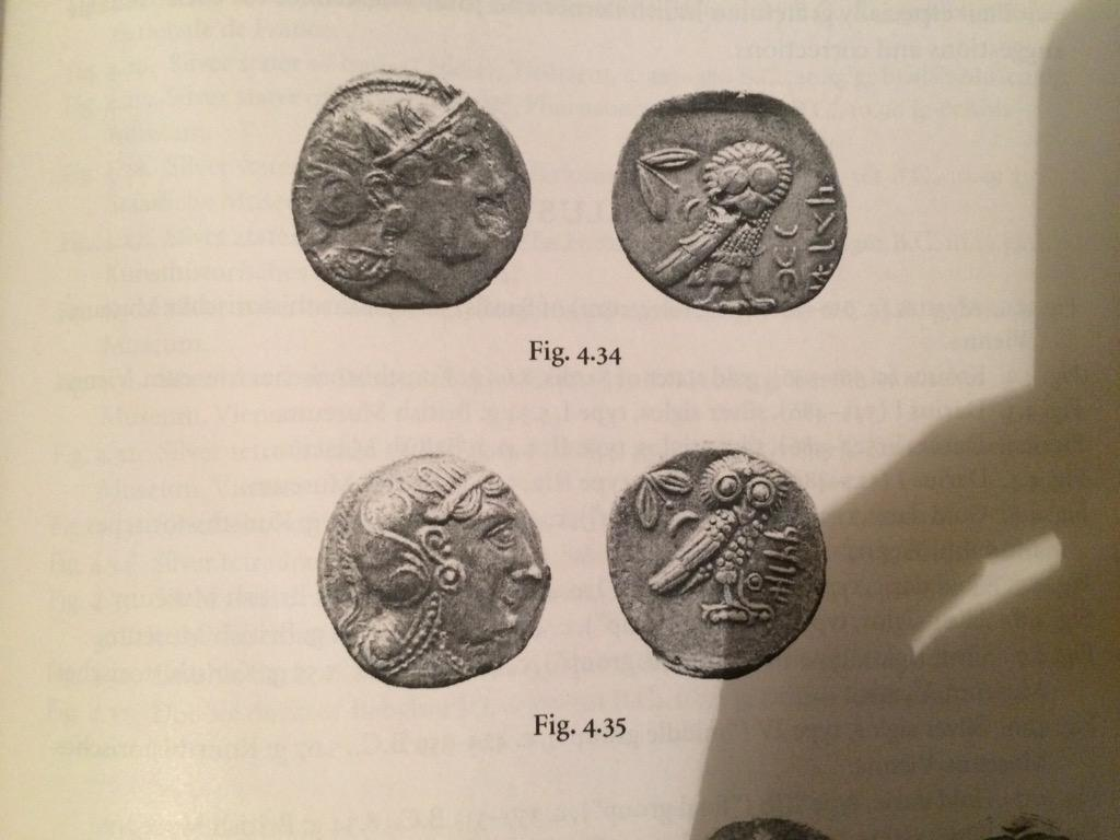 'Although not clear 2nd coin on left maybe be 4thC BC Egypt tetradrachm of  Artaxerxes IIII or Mazakes' (c) Christopher Whittell, Twitter, 4th June 2015