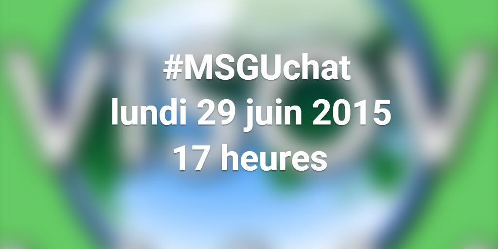 [AGENDA] Le retour du #MSGUchat ! RDV le 29 juin à 17h pr échanger en direct sur actus #MSGU avec l'équipe @VISOV1 ! http://t.co/6UROLZHxBk
