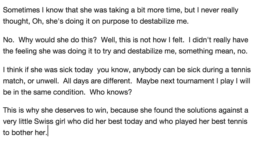 "Great Timea quote. No, she doesn't thing Serena was ""faking"". http://t.co/nNbM31ytb2"