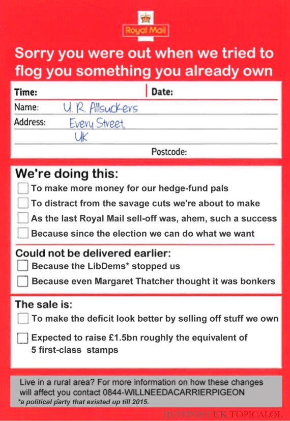 George Osborne has left a note for the UK taxpayer about the Royal Mail sale http://t.co/f23tgXsFgP http://t.co/HgF4vZy0ii