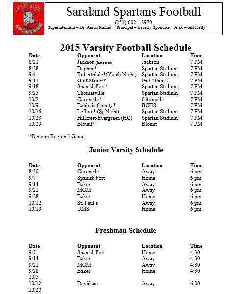 """Saraland Spartans Football: Bama Braves Jags On Twitter: """"Just A Reminder... Saraland"""