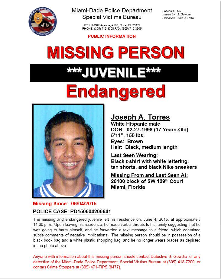 Missing Juvenile: Joseph Torres, 17-year old. Last seen Thursday, 6/4/2015, in the area of 20100 Block SW 129th Ct. http://t.co/y6N0OPC0m8