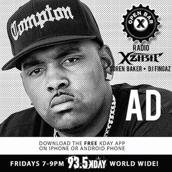 2nite my Homie @xzibit & Friends got the Homie @iitsAD on @OpenBarRadio on @935KDAY from 7-9 pm PST #compton #Support http://t.co/d2xdK5Zm1i