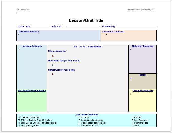 Pete Charrette On Twitter FREE LESSON PLAN TEMPLATE FOR PHYSICAL - Lesson plan template for physical education