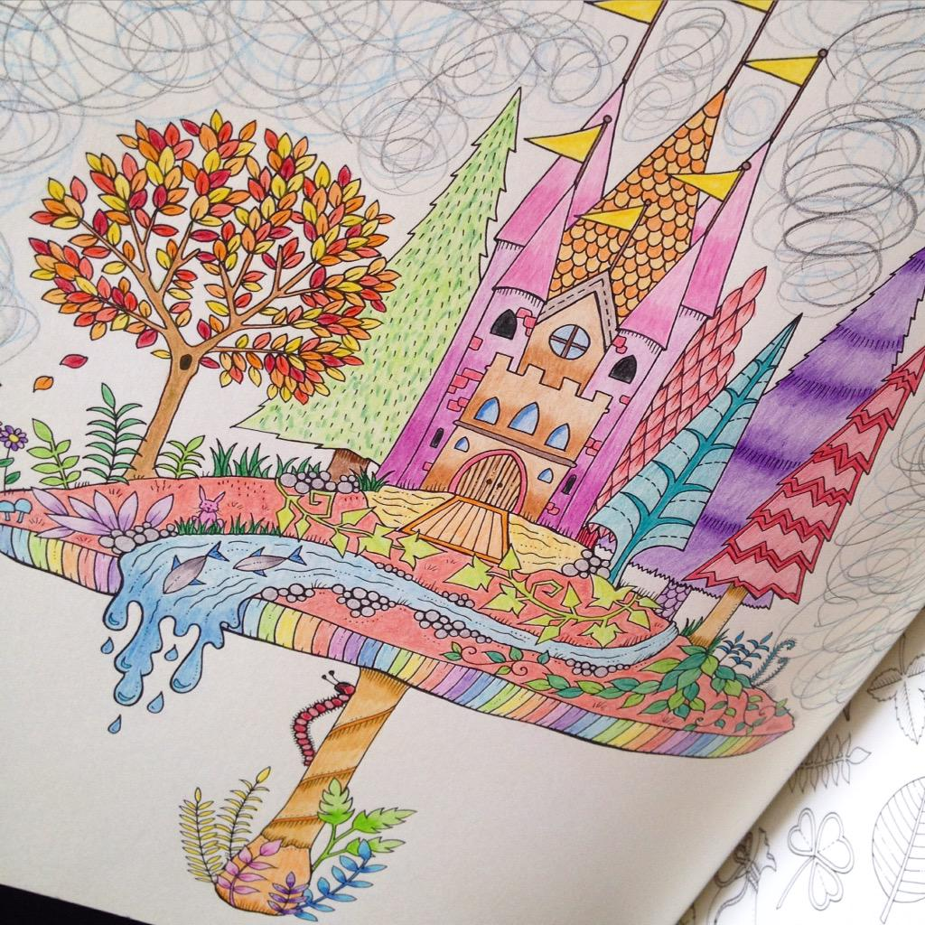 Sam Hartwig On Twitter Finished Another Page From Johannabasford Beautiful Coloring Book Enchanted Forest Castle Atop A Mushroom