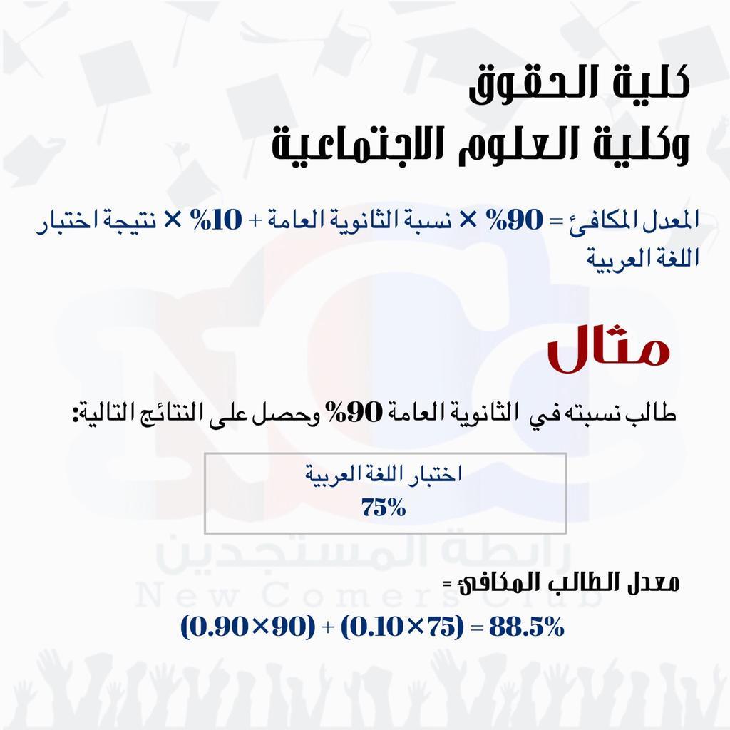 رابطة المستجدين Ncc Pa Twitter مثال لطريقة حساب المعدل المكافئ لكليات جامعة الكويت Http T Co 6mkruv1qui